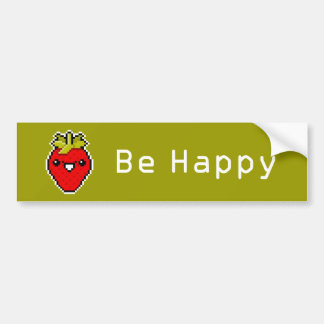Pixel Art Cute Strawberry Bumper Sticker