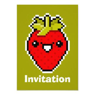 Pixel Art Cute Strawberry Invitation