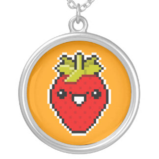 Pixel Art Cute Strawberry Necklace
