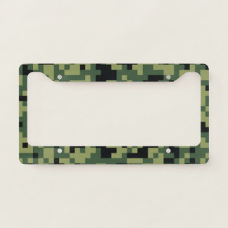Pixel Art Green Camouflage. Camo your License Plate Frame