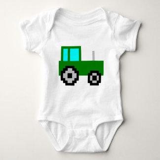 Pixel Art Green Tractor Baby Bodysuit