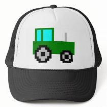 Pixel Art Green Tractor Trucker Hat
