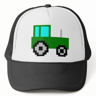 Pixel Art Green Tractor Trucker Hat