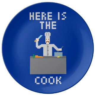 Pixel Art - Here is The Cook - Porcelain Plate