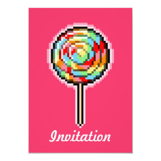 Pixel Art Lollipop Candy Invitation