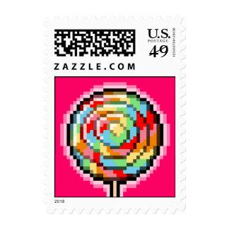 Pixel Art Lollipop Candy Postage