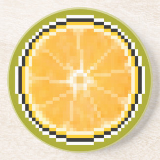 Pixel Art Orange Coaster
