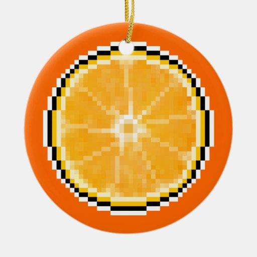 Pixel Art Orange Ornament
