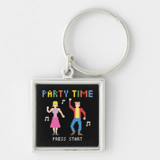 Pixel Art Party Time Keychain