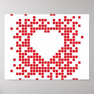 Pixel art red retro heart poster