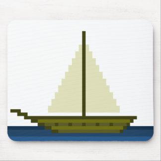 Pixel art ship mouse pad