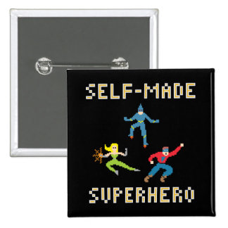 Pixel Art Superhero Button
