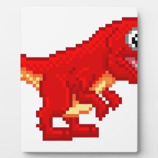 Pixel Art T Rex Cartoon Dinosaur Plaque