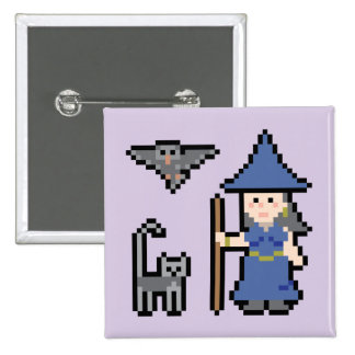 Pixel Art Witch Button