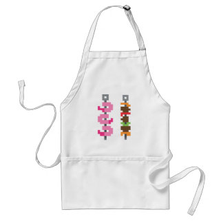 Pixel bbq food adult apron