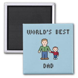 Pixel Best Dad Magnet 2 Inch Square Magnet