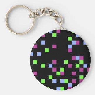 pixel black basic round button keychain