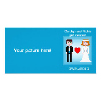 Pixel Bride and Groom - Photo Save the Date - Blue Card