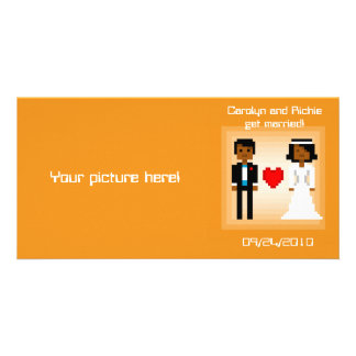 Pixel Bride and Groom - Photo Save the Date - Orng Card