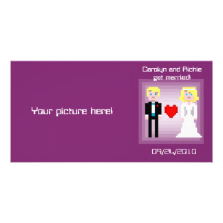 Pixel Bride and Groom - Photo Save the Date - Plum Card