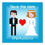 Pixel Bride and Groom - Save the Date - Blue Personalized Invitations