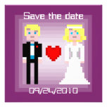 Pixel Bride and Groom - Save the Date - Plum Invitations