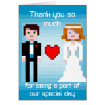 Pixel Bride and Groom - Thank You - Blue Cards