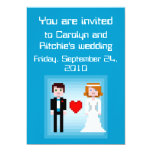 Pixel Bride and Groom - Wedding Invitation - Blue