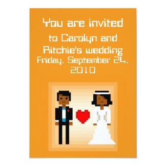 Pixel Bride and Groom - Wedding Invitation - Ornge