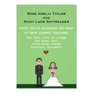 Pixel Bride & Groom Wedding Invite