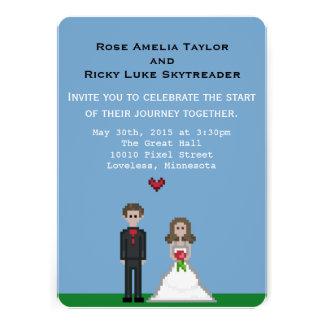 Pixel Bride & Groom Wedding Invite Invites