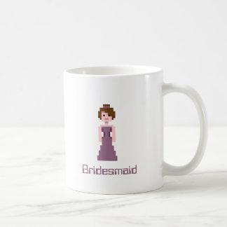 Pixel Bridesmaid - Pink with Brown Eyes Custom Coffee Mug