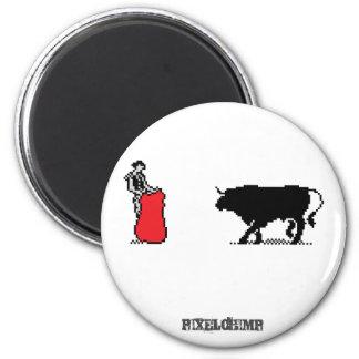 Pixel Bullfighter Fridge Magnet