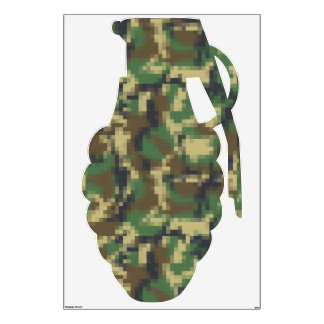 Pixel Camouflage Military Grenade Wall Sticker