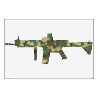 Pixel Camouflage Military Machine Gun Wall Sticker
