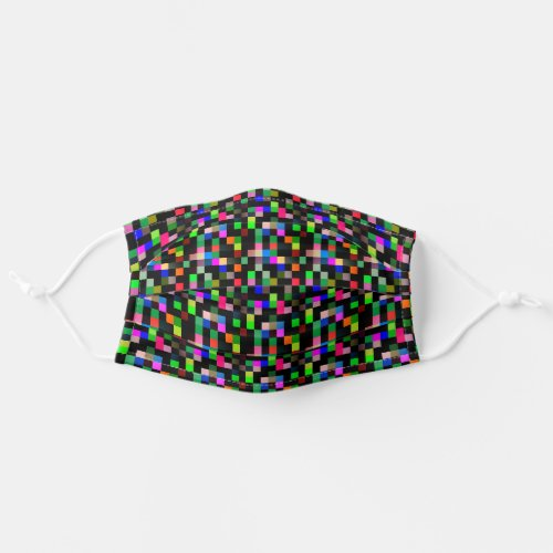 Pixel Checkered Pattern Abstract Geeky Colorful Cloth Face Mask
