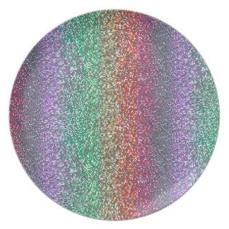 Pixel chispeante del brillo del arco iris brillant plato de cena