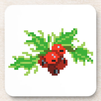 Pixel Christmas Holly Wreath Coaster