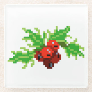 Pixel Christmas Holly Wreath Glass Coaster