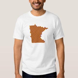 Pixel colegial Minnesota del marrón y del oro Playera