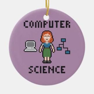 Pixel Computer Science - Female - Circle Ornament