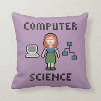 Pixel Computer Science - Female - Throw Pillow