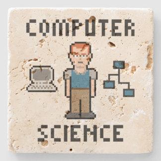 Pixel Computer Science Travertine Coaster