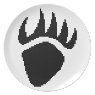 Pixel de la garra de oso negro platos de comidas