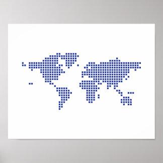 Pixel del mapa del mundo impresiones