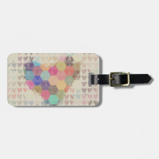 Pixel Digital Rainbow Heart Luggage Tag