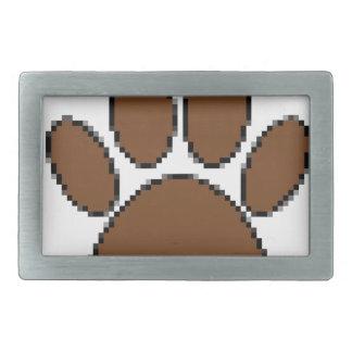 Pixel Dog Paw Print Rectangular Belt Buckle