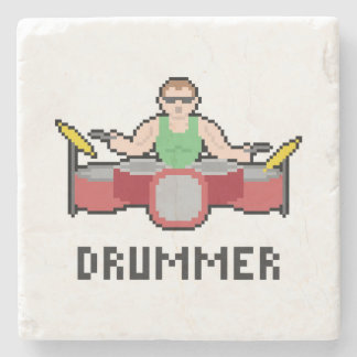 Pixel Drummer Marble Stone Coaster