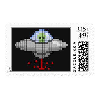 Pixel Flying Saucer Postage