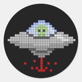 Pixel Flying Saucer Sticker
